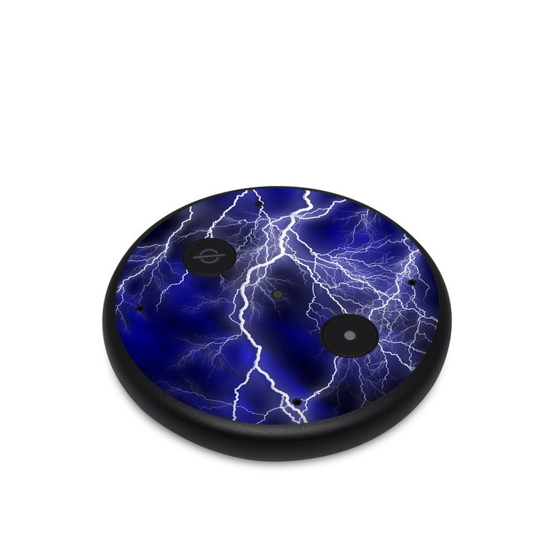 Amazon Echo Input Skin design of Thunder, Lightning, Thunderstorm, Sky, Nature, Electric blue, Atmosphere, Daytime, Blue, Atmospheric phenomenon with blue, black, white colors