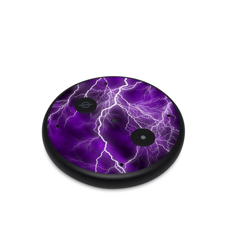 Amazon Echo Input Skin design of Thunder, Lightning, Thunderstorm, Sky, Nature, Purple, Violet, Atmosphere, Storm, Electric blue with purple, black, white colors