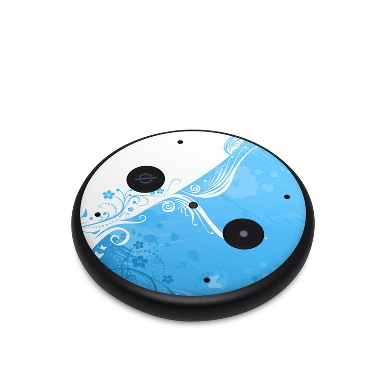 Amazon Echo Input Skin design of Blue, Aqua, Pattern, Turquoise, Azure, Teal, Design, Graphic design, Visual arts, Illustration with blue, white colors