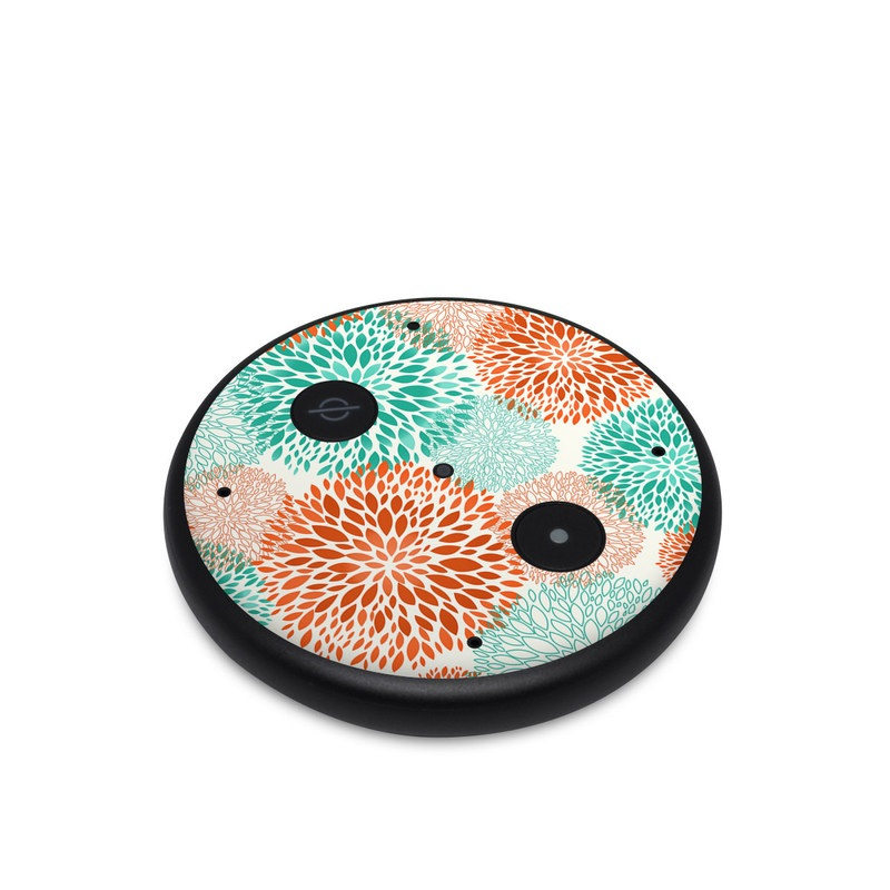 Amazon Echo Input Skin design of Pattern, Turquoise, Aqua, Orange, Teal, Line, Design, Circle, Textile, Dahlia with gray, pink, white, blue, green colors