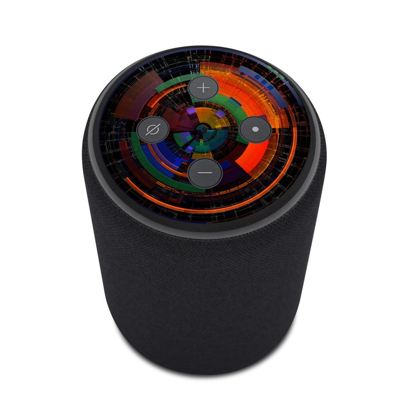 Amazon Echo Plus 2nd Gen Skin design of Colorfulness, Pattern, Circle, Design, Architecture, Symmetry, Art, Spiral, Psychedelic art with black, red, blue, green, orange, brown colors
