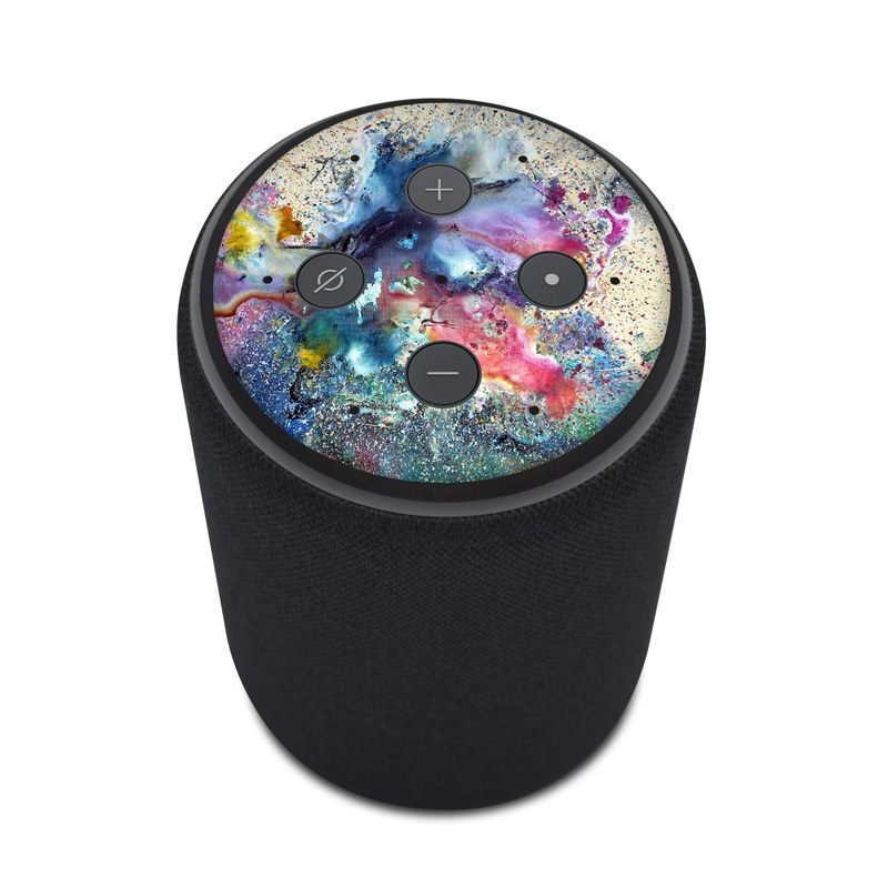 Amazon Echo Plus 2nd Gen Skin design of Watercolor paint, Painting, Acrylic paint, Art, Modern art, Paint, Visual arts, Space, Colorfulness, Illustration with gray, black, blue, red, pink colors