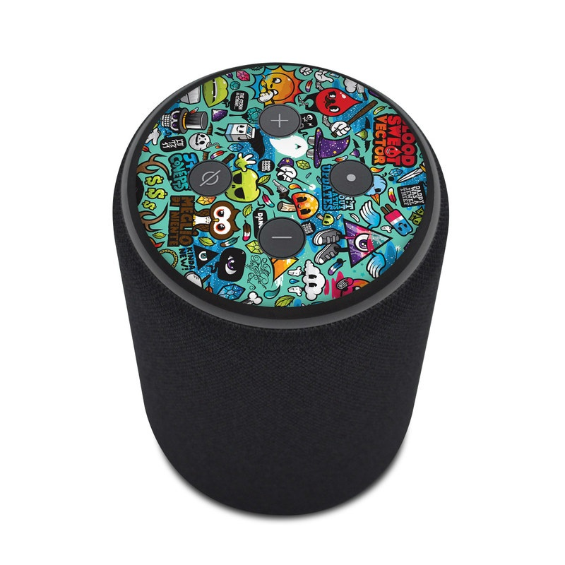 Amazon Echo Plus 2nd Gen Skin design of Cartoon, Art, Pattern, Design, Illustration, Visual arts, Doodle, Psychedelic art with black, blue, gray, red, green colors