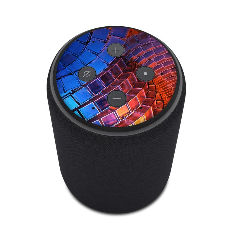 Amazon Echo Plus 2nd Gen Skin design of Blue, Red, Orange, Light, Pattern, Architecture, Design, Fractal art, Colorfulness, Psychedelic art with black, red, blue, purple, gray colors