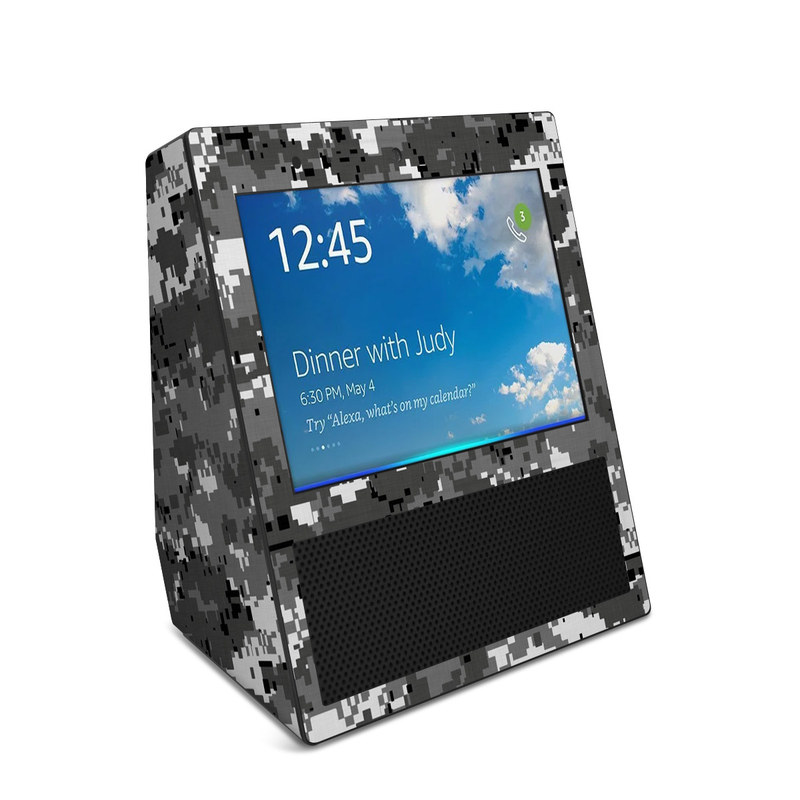 Amazon Echo Show 1st Gen Skin design of Military camouflage, Pattern, Camouflage, Design, Uniform, Metal, Black-and-white with black, gray colors