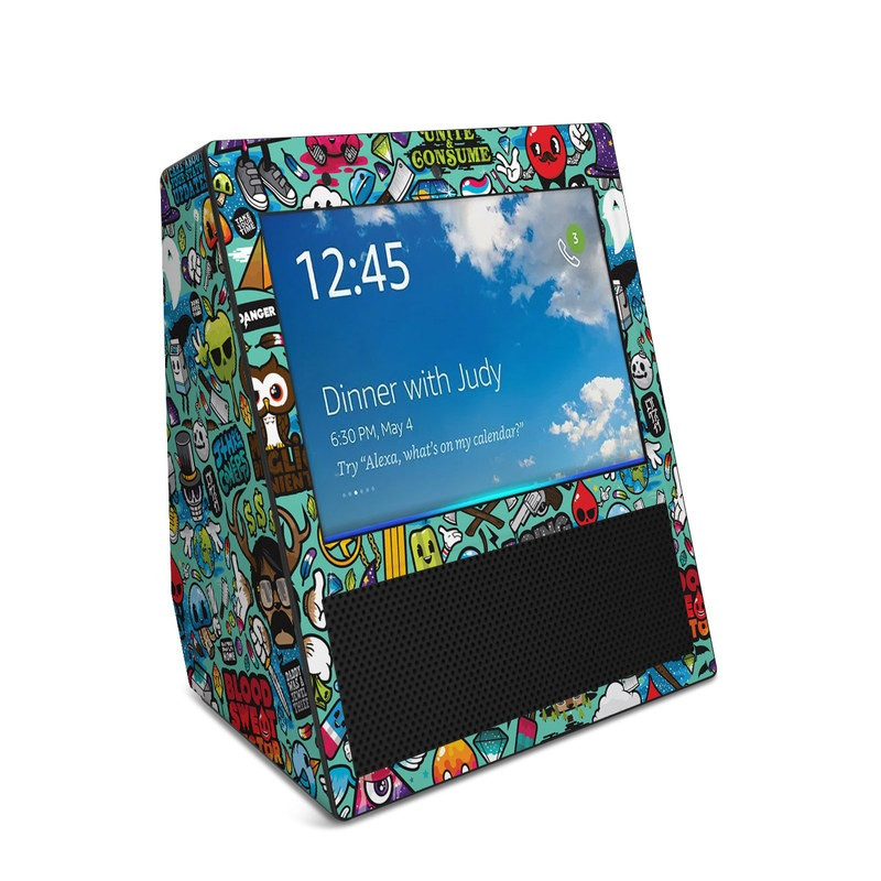 Amazon Echo Show 1st Gen Skin design of Cartoon, Art, Pattern, Design, Illustration, Visual arts, Doodle, Psychedelic art with black, blue, gray, red, green colors