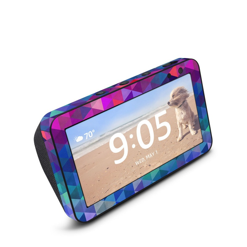Amazon Echo Show 5 Skin design of Purple, Violet, Pattern, Blue, Magenta, Triangle, Line, Design, Graphic design, Symmetry with blue, purple, green, red, pink colors
