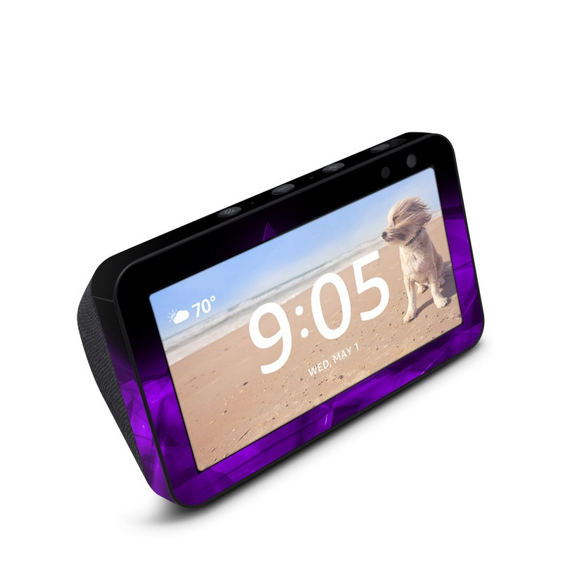 Amazon Echo Show 5 Skin design of Violet, Purple, Pink, Magenta, Blue, Light, Red, Lilac, Petal, Electric blue with black, purple colors