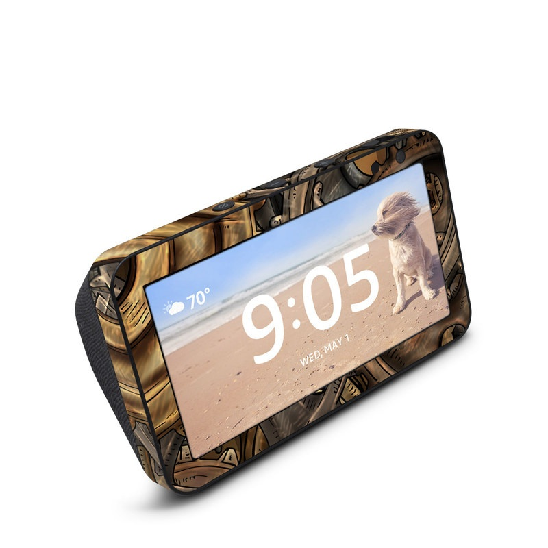 Amazon Echo Show 5 Skin design of Metal, Auto part, Bronze, Brass, Copper with black, red, green, gray colors