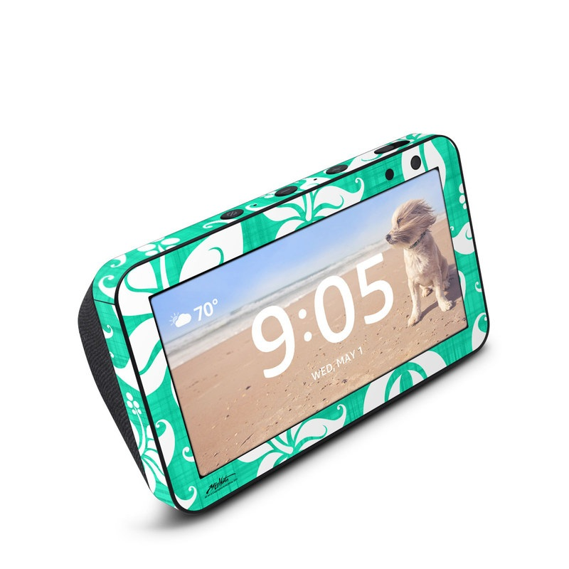 Amazon Echo Show 5 Skin design of Green, Aqua, Pattern, Teal, Turquoise, Wrapping paper, Design, Visual arts, Motif with blue, white, gray, green colors