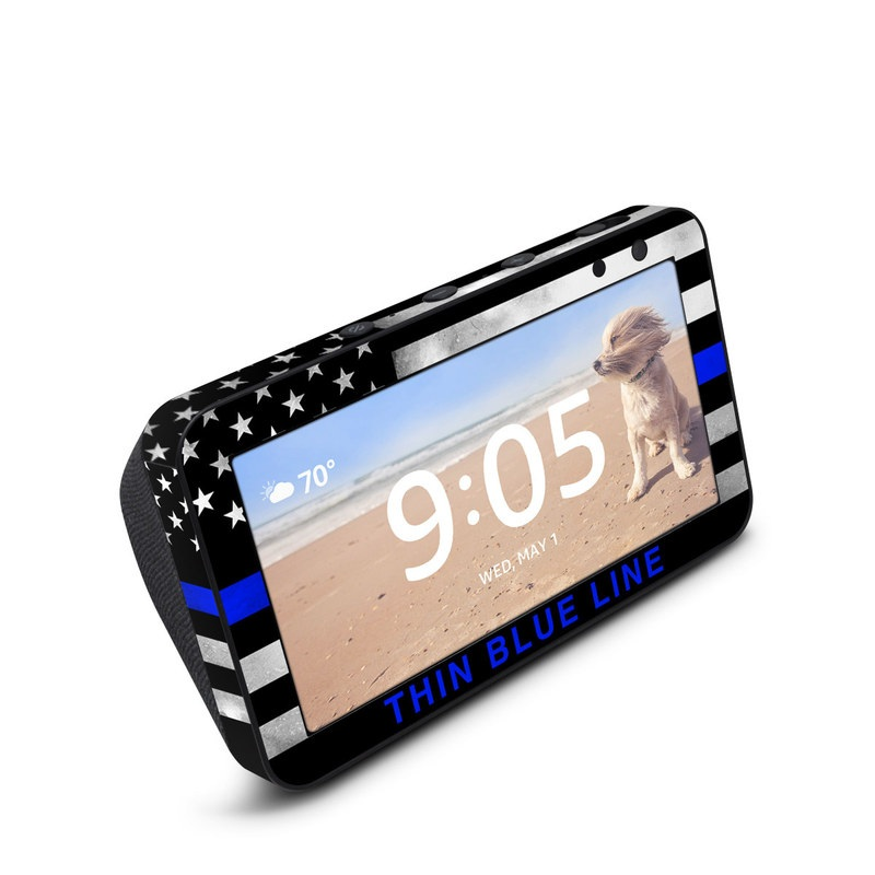 Amazon Echo Show 5 Skin design of Line, Flag, Text, Flag of the united states, Font, Parallel, Symmetry, Black-and-white, Pattern, Graphics with black, white, gray, blue colors