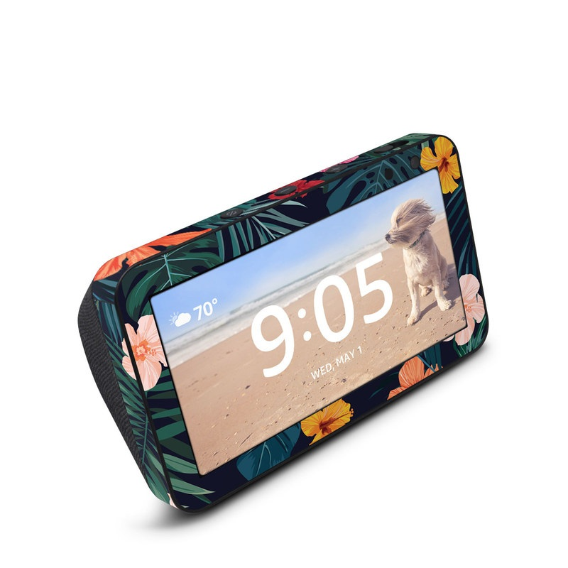 Amazon Echo Show 5 Skin design of Hawaiian hibiscus, Flower, Pattern, Plant, Leaf, Floral design, Botany, Design, Hibiscus, Petal with black, green, red, pink, orange, yellow, white colors