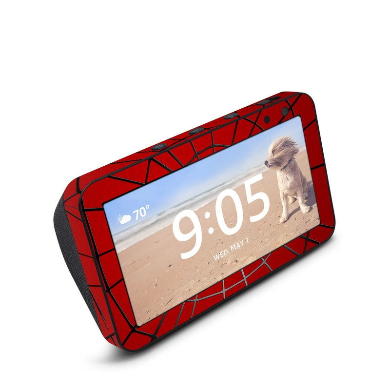 Amazon Echo Show 5 Skin design of Red, Symmetry, Circle, Pattern, Line with red, black, gray colors