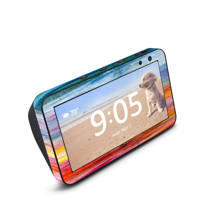 Amazon Echo Show 5 Skin design of Sky, Painting, Acrylic paint, Modern art, Watercolor paint, Art, Horizon, Paint, Visual arts, Wave with gray, blue, red, black, pink colors