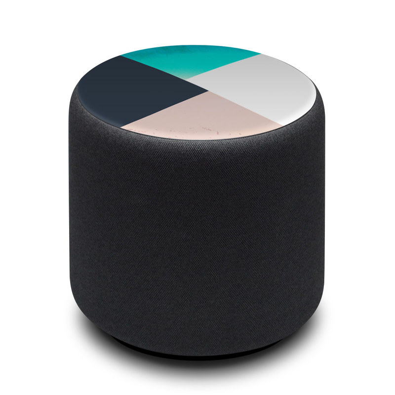 Amazon Echo Sub Skin design of Blue, Turquoise, Aqua, Line, Triangle, Design, Material property, Graphic design, Pattern, Architecture with black, white, brown, blue colors