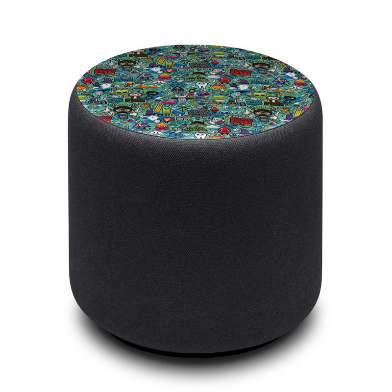 Amazon Echo Sub Skin design of Cartoon, Art, Pattern, Design, Illustration, Visual arts, Doodle, Psychedelic art with black, blue, gray, red, green colors