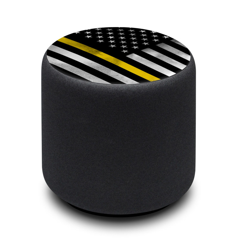 Amazon Echo Sub Skin design of Flag of the united states, Flag, Yellow, Line, Black-and-white, Pattern, Monochrome, Graphic design, Parallel with black, white, gray, yellow colors
