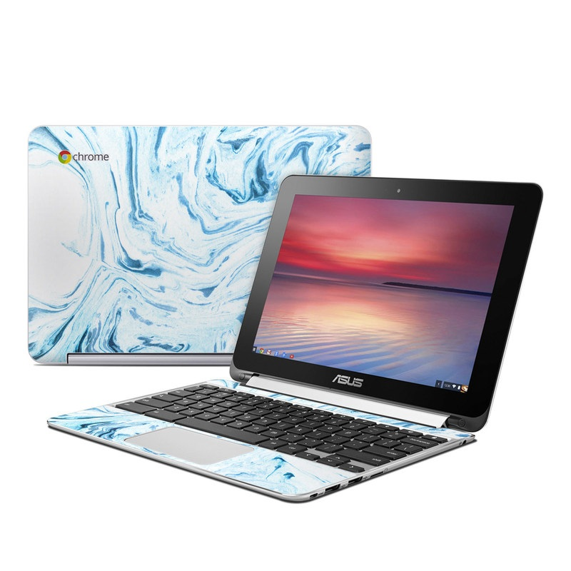 Asus Chromebook Flip C100 Skin design of Water, Aqua, Wind wave, Drawing, Painting, Wave, Pattern, Art with blue colors