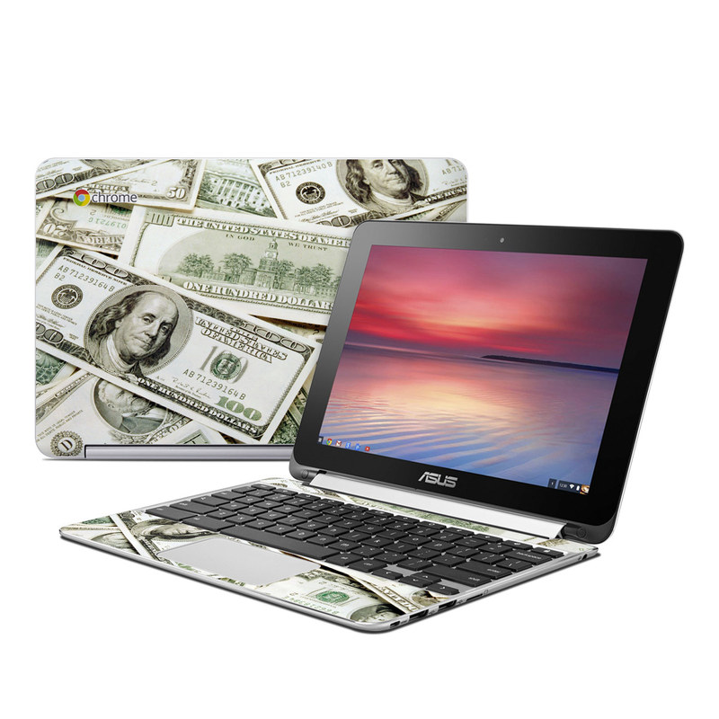 Asus Chromebook Flip C100 Skin design of Money, Cash, Currency, Banknote, Dollar, Saving, Money handling, Paper, Stock photography, Paper product with green, white, black, gray colors