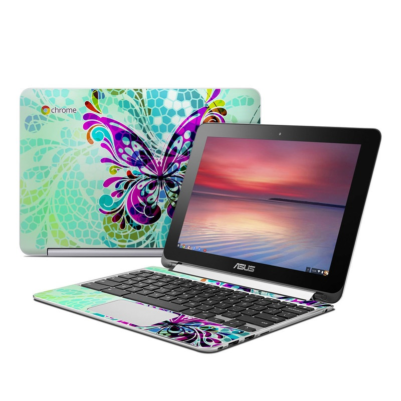 Asus Chromebook Flip C100 Skin design of Butterfly, Pattern, Insect, Moths and butterflies, Purple, Graphic design, Design, Pollinator, Visual arts, Magenta with blue, green, purple colors