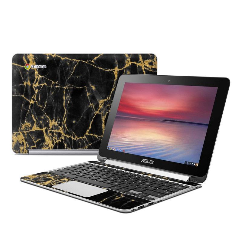 Black Gold Marble Asus Chromebook Flip C100 Skin