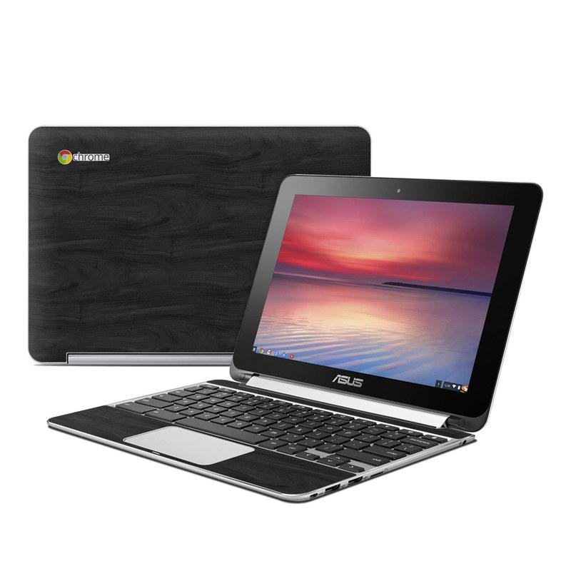 Black Woodgrain Asus Chromebook Flip C100 Skin