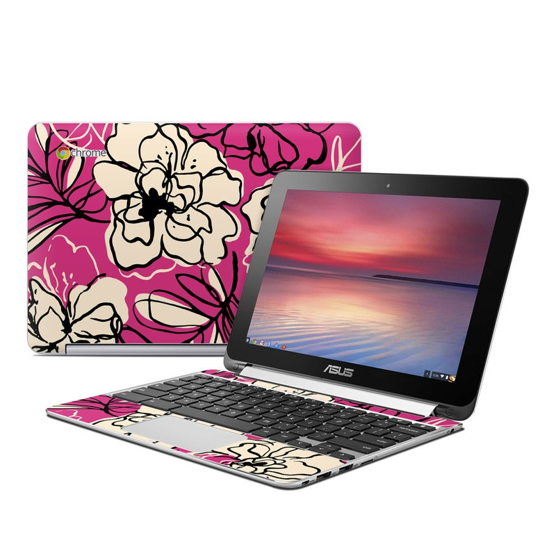 Black Lily Asus Chromebook Flip C100 Skin