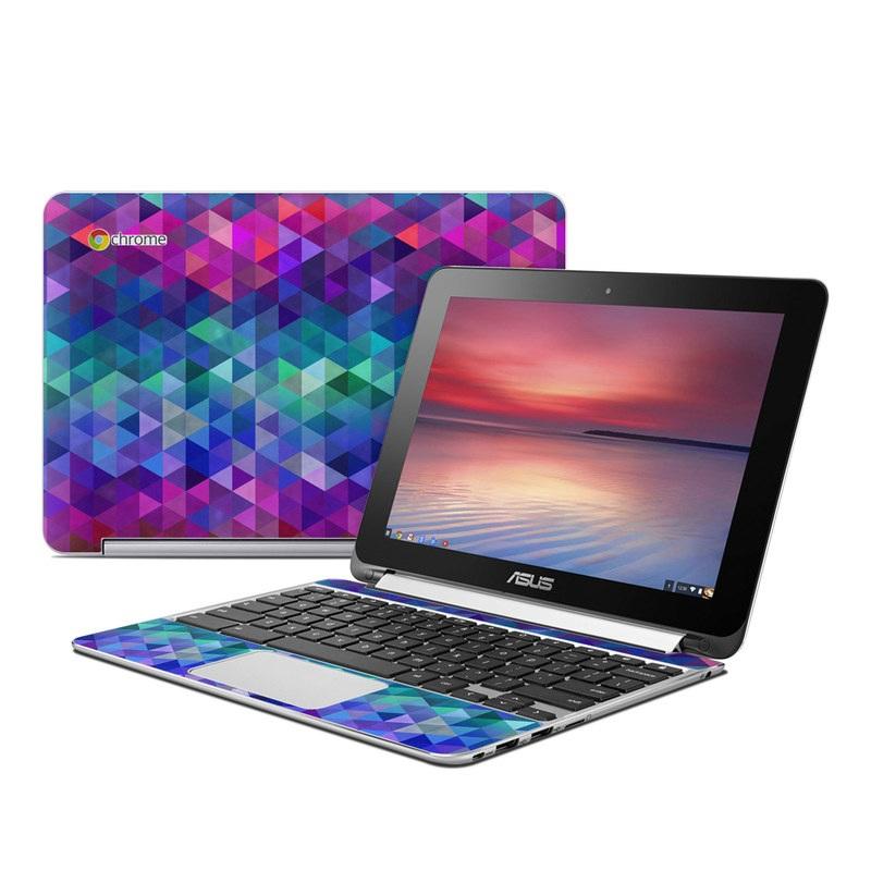 Asus Chromebook Flip C100 Skin design of Purple, Violet, Pattern, Blue, Magenta, Triangle, Line, Design, Graphic design, Symmetry with blue, purple, green, red, pink colors