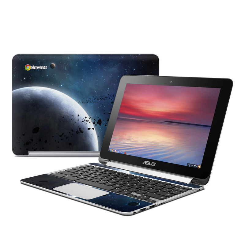 Asus Chromebook Flip C100 Skin design of Outer space, Atmosphere, Astronomical object, Universe, Space, Sky, Planet, Astronomy, Celestial event, Night with black, blue, gray colors