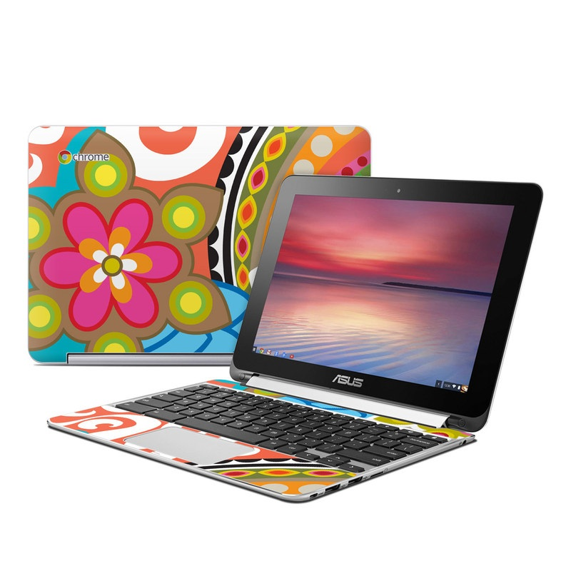 Asus Chromebook Flip C100 Skin design of Pattern, Circle, Design, Visual arts, Wrapping paper, Clip art with green, red, white, purple, orange colors