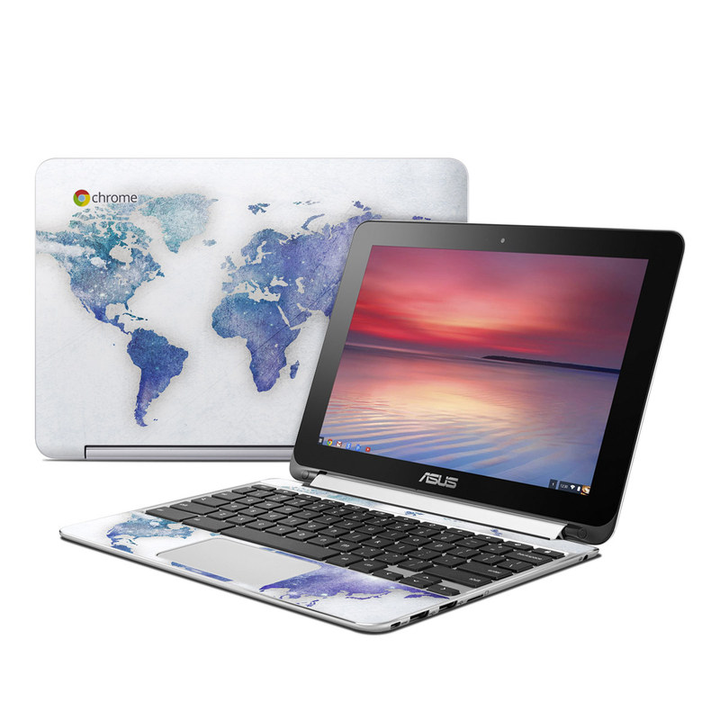 Asus Chromebook Flip C100 Skin design of World, Map, Watercolor paint, Illustration with white, blue, purple colors