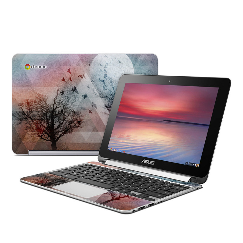 Asus Chromebook Flip C100 Skin design of Sky, Tree, Red, Natural landscape, Branch, Watercolor paint, Painting, Visual arts, Art, Illustration with gray, black, red, blue, green colors