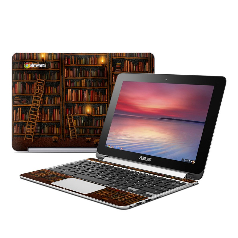 Asus Chromebook Flip C100 Skin design of Shelving, Library, Bookcase, Shelf, Furniture, Book, Building, Publication, Room, Darkness with black, red colors