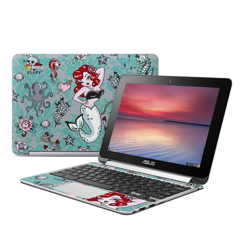 Asus Chromebook Flip C100 Skin design of Mermaid, Illustration, Fictional character, Organism, Art, Pattern, Style with gray, blue, black, red, white, pink colors