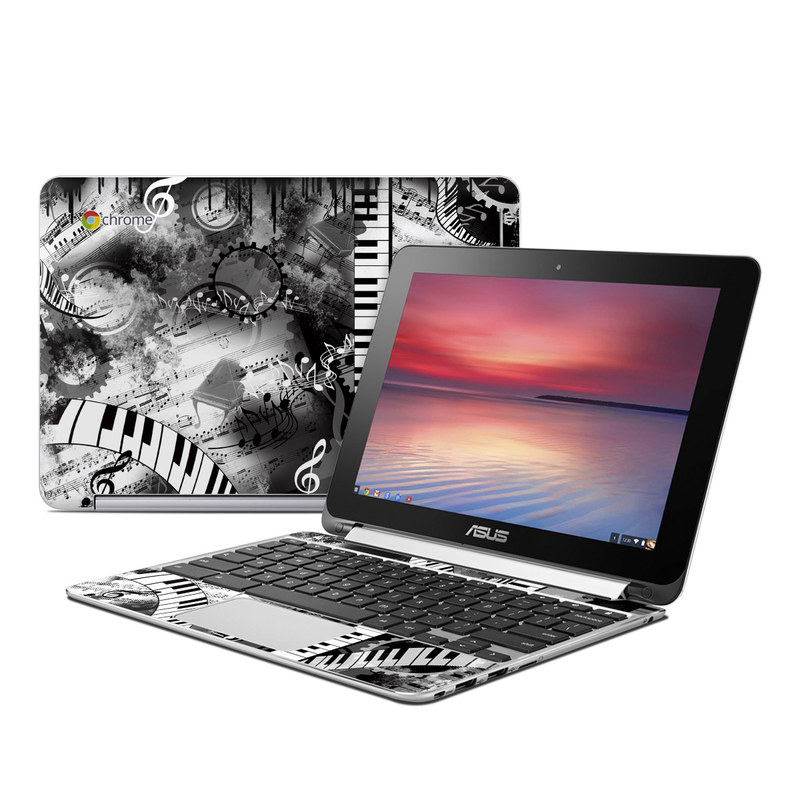 Asus Chromebook Flip C100 Skin design of Music, Monochrome, Black-and-white, Illustration, Graphic design, Musical instrument, Technology, Musical keyboard, Piano, Electronic instrument with black, gray, white colors