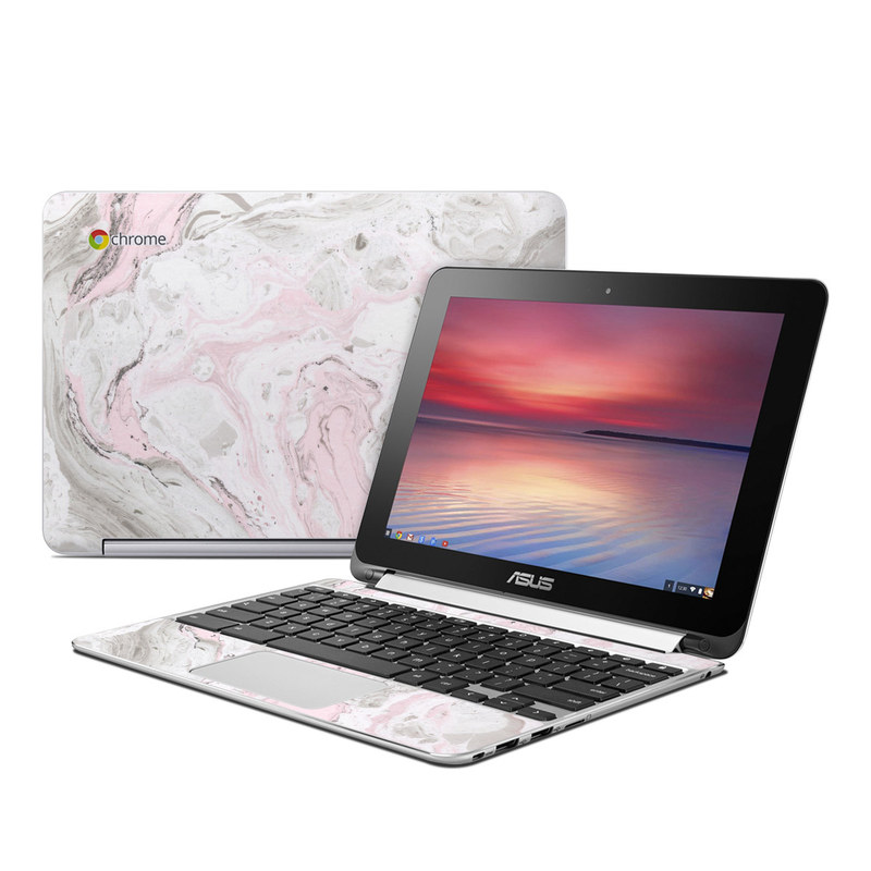 Asus Chromebook Flip C100 Skin design of White, Pink, Pattern, Illustration with pink, gray, white colors
