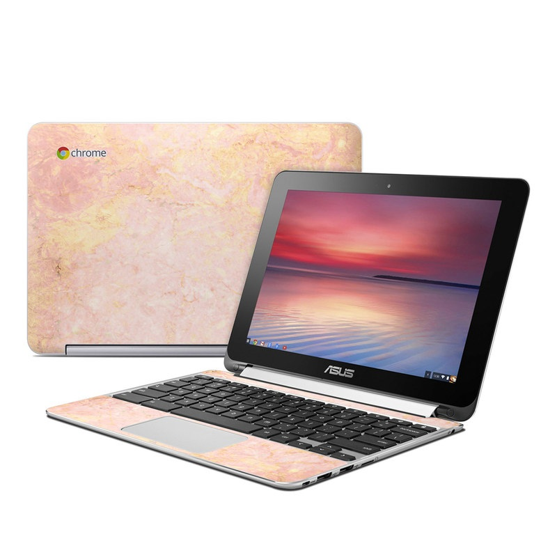 Asus Chromebook Flip C100 Skin design of Pink, Peach, Wallpaper, Pattern with pink, yellow, orange colors