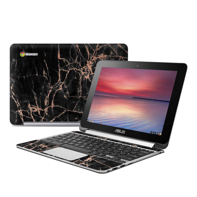 Asus Chromebook Flip C100 Skin design of Branch, Black, Twig, Tree, Brown, Sky, Atmosphere, Plant, Winter, Night with black, pink colors