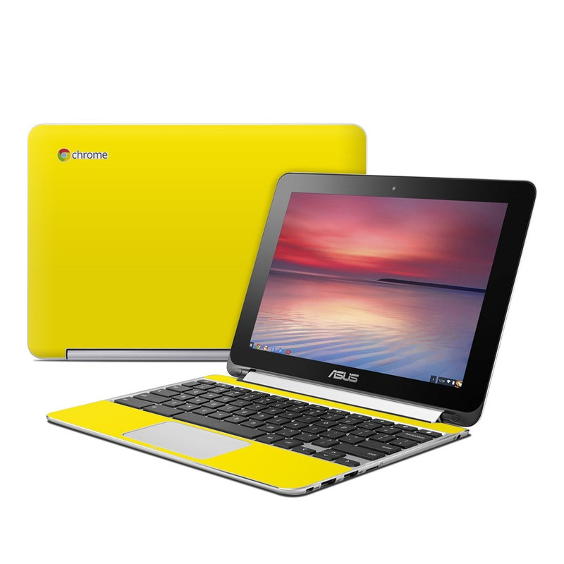 Asus Chromebook Flip C100 Skin design of Green, Yellow, Orange, Text, Font with yellow colors