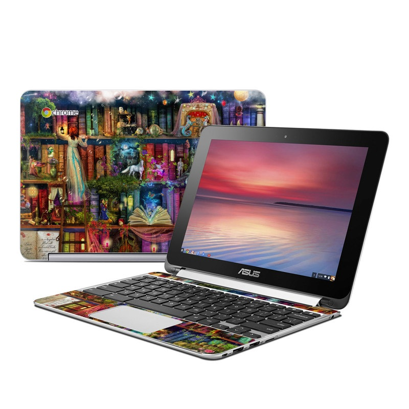 Asus Chromebook Flip C100 Skin design of Painting, Art, Theatrical scenery with black, red, gray, green, blue colors