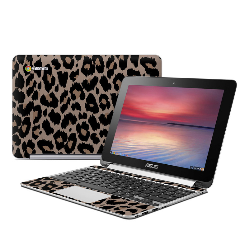 Asus Chromebook Flip C100 Skin design of Pattern, Brown, Fur, Design, Textile, Monochrome, Fawn with black, gray, red, green colors