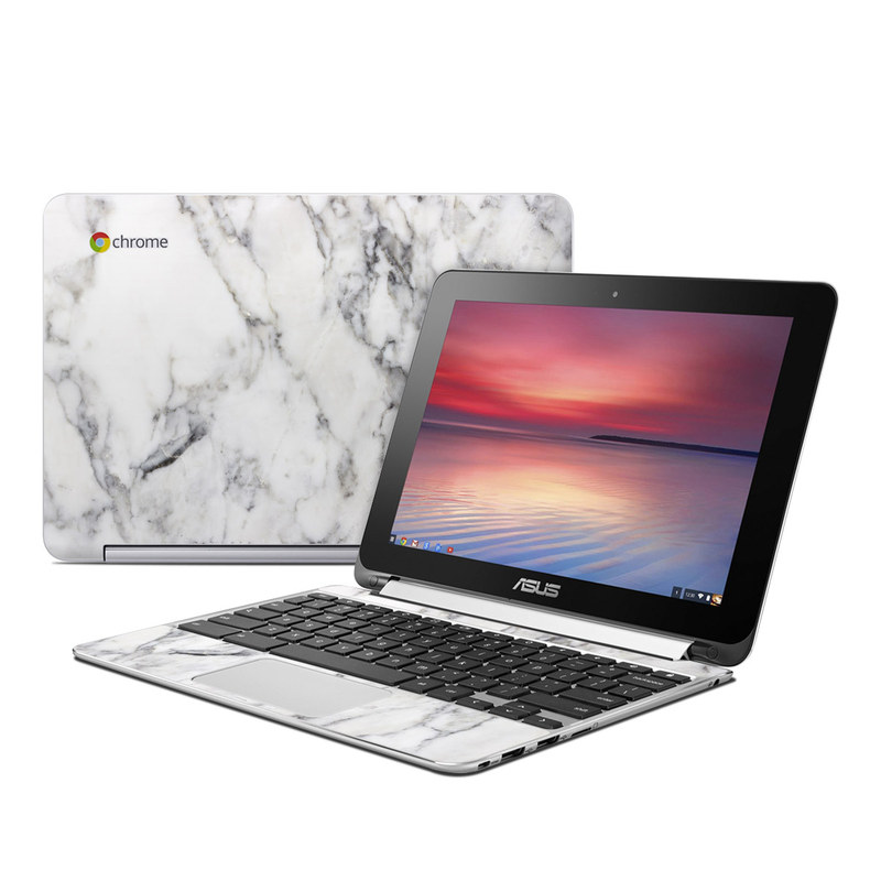 Asus Chromebook Flip C100 Skin design of White, Geological phenomenon, Marble, Black-and-white, Freezing with white, black, gray colors