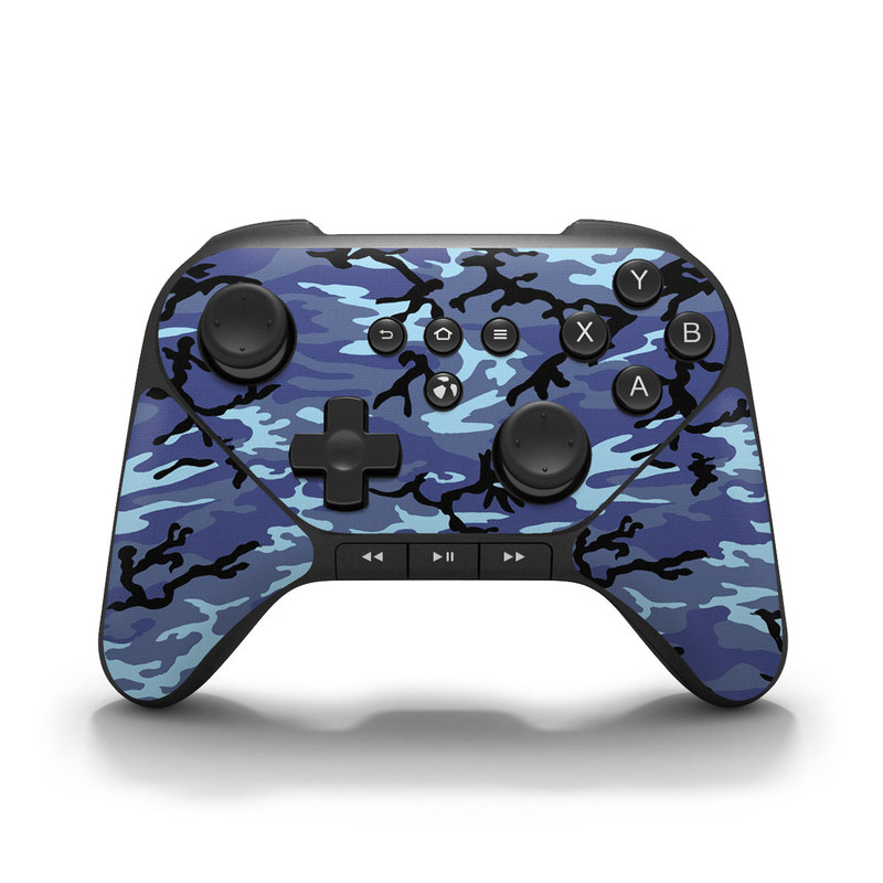 Amazon Fire Game Controller Skin design of Military camouflage, Pattern, Blue, Aqua, Teal, Design, Camouflage, Textile, Uniform with blue, black, gray, purple colors