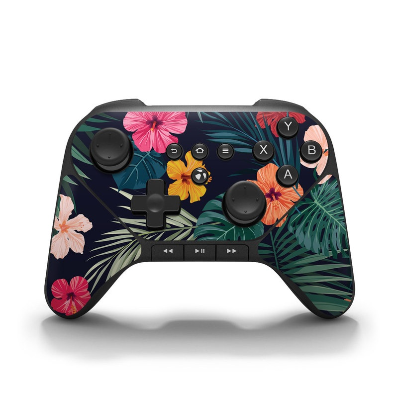 Amazon Fire Game Controller Skin design of Hawaiian hibiscus, Flower, Pattern, Plant, Leaf, Floral design, Botany, Design, Hibiscus, Petal with black, green, red, pink, orange, yellow, white colors