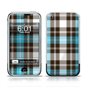 Turquoise Plaid iPhone 1st Gen Skin