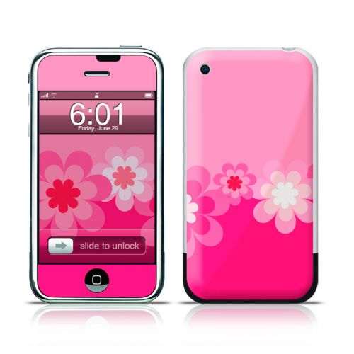 retro pink flower iphone skin