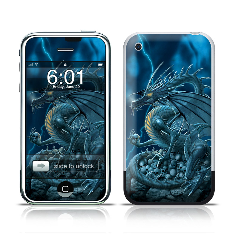 iPhone 1st Gen Skin design of Cg artwork, Dragon, Mythology, Fictional character, Illustration, Mythical creature, Art, Demon with blue, yellow colors