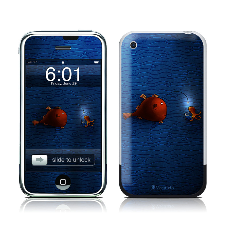 iPhone 1st Gen Skin design of Deep sea fish, Anglerfish, Illustration, Fish, Animation, Art with blue, red colors