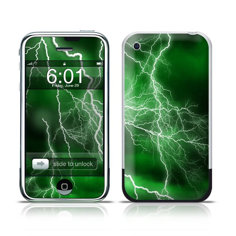 iPhone 1st Gen Skin design of Thunderstorm, Thunder, Lightning, Nature, Green, Water, Sky, Atmosphere, Atmospheric phenomenon, Daytime with green, black, white colors