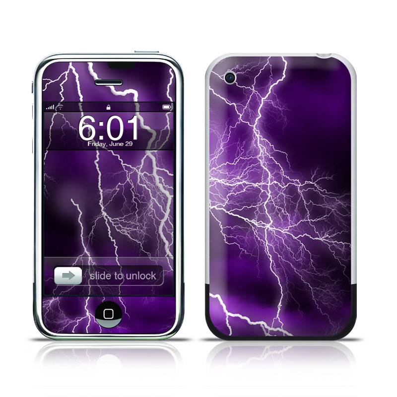 iPhone 1st Gen Skin design of Thunder, Lightning, Thunderstorm, Sky, Nature, Purple, Violet, Atmosphere, Storm, Electric blue with purple, black, white colors